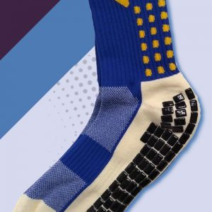 Blue and yellow cushioned sports socks