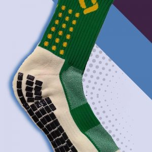 Green and yellow cushioned sports socks