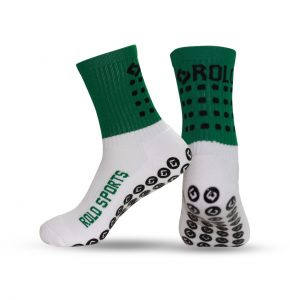 Green cushioned sports socks