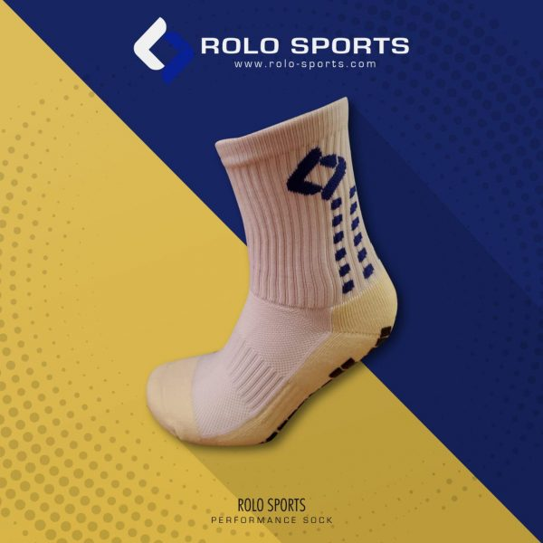 White & Blue Cushioned Sports Socks by Rolo Sports