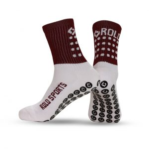 Maroon & White Cushioned Sports Socks