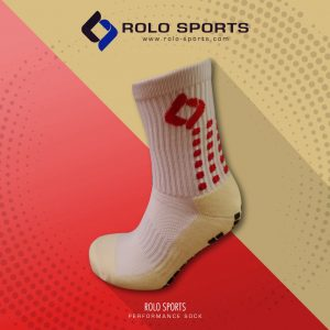 White & Red Cushioned Sports Socks by Rolo Sports