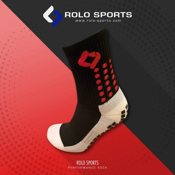 Black & Red Cushioned Sports Socks by Rolo Sports