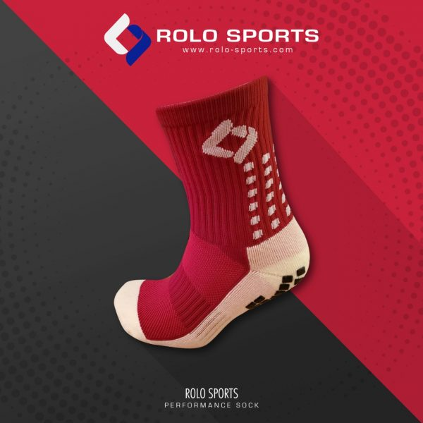Maroon & White Cushioned Sports Socks by Rolo Sports