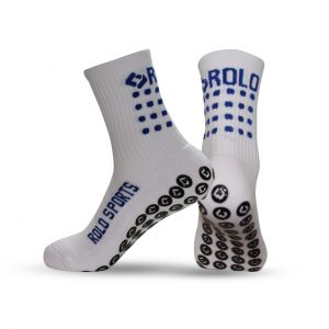 White & Blue Cushioned Sports Socks