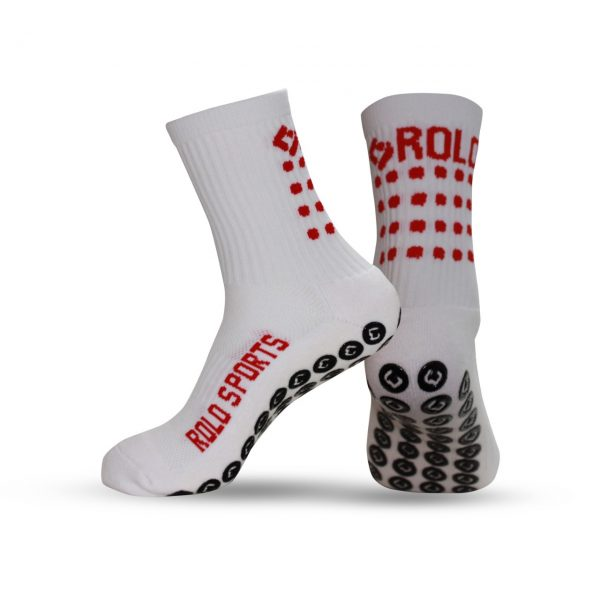 White & Red Cushioned Sports Socks