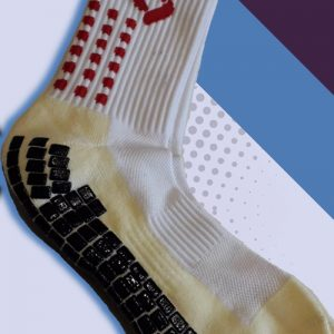 White and Red cushioned sports socks